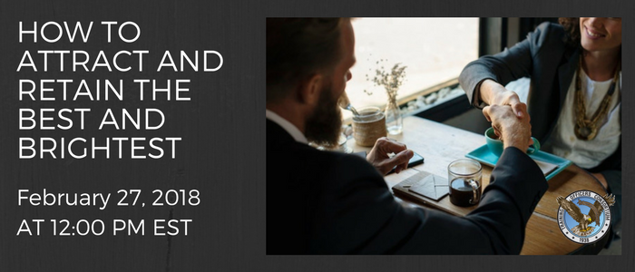 Banner ad for Webinar: people shaking hands at a business lunch.