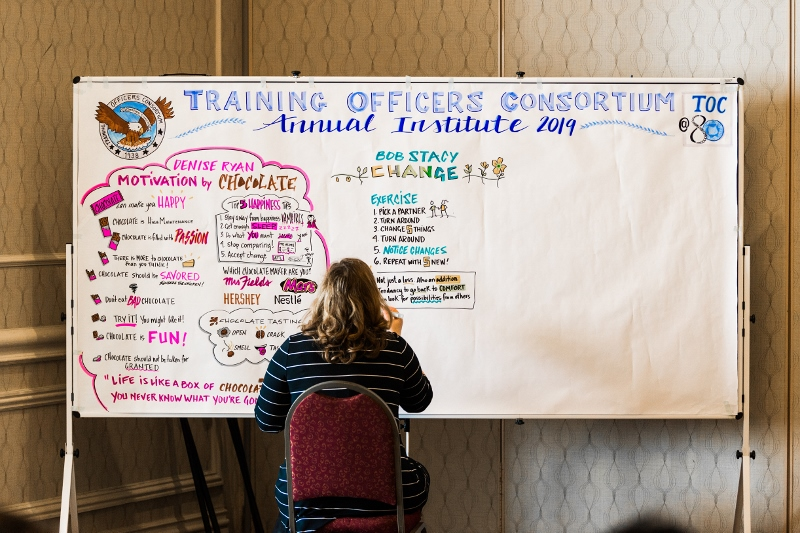 Jeanette taking illustrated notes at the 2019 Annual Institute