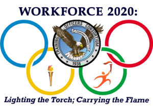 TOC 2020 Logo, tag line: Lighting the Torch; Carrying the Flame